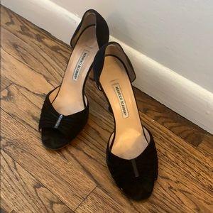 Manolo Blahnik black suede heel sandal 41